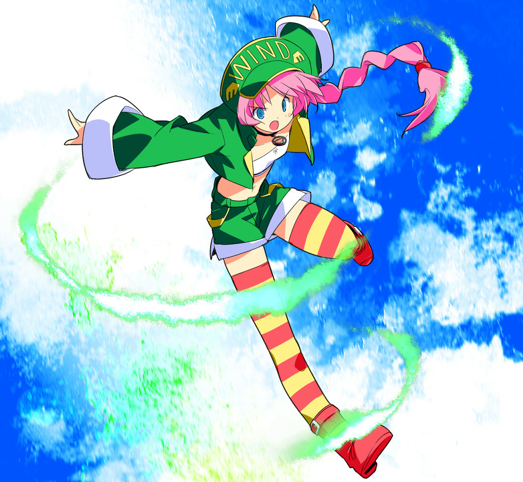 asoka blue_background blue_eyes boots braid choker crop_top hat jacket long_hair midriff orange_legwear pink_hair psychic_force shorts sky solo striped striped_legwear striped_thighhighs thigh-highs thighhighs wendy_ryan yellow_legwear