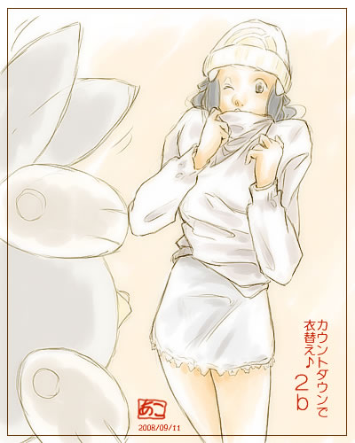 alternate_costume beanie blue_hair dressing hat hikari_(pokemon) hikari_(pokemon)_(remake) long_hair lowres pantyhose piplup pokemon pokemon_(game) pokemon_dppt sweater wink winter_clothes