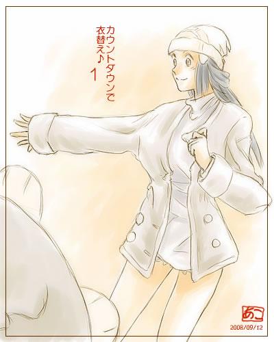 alternate_costume beanie blue_hair coat dressing hat hikari_(pokemon) hikari_(pokemon)_(remake) long_hair lowres pantyhose piplup pokemon pokemon_(game) pokemon_dppt sweater winter_clothes