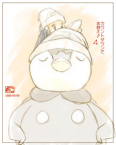alternate_costume beanie blue_hair hat hikari_(pokemon) hikari_(pokemon)_(remake) lowres piplup pokemon pokemon_(game) pokemon_dppt undressing winter_clothes