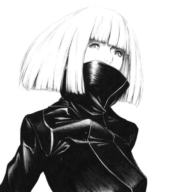coat high_collar lady_gaga lady_gaga_(copyright) monochrome sawasawa solo