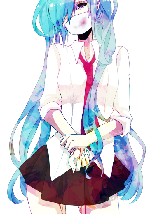 aqua_hair bad_id blood hair_over_one_eye hatsune_miku head_tilt loalo long_hair necktie simple_background skirt solo surgical_mask twintails very_long_hair vocaloid white-lily-0810