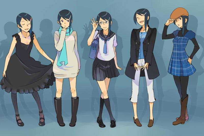 adjusting_hat asymmetrical_hair bespectacled blue_eyes blue_hair boots clothes curtsey dress glasses hair_ornament hairclip hand_on_hip hat hips idolmaster lowres mizutani_eri multiple_girls open_mouth original pantyhose purimari rubber_boots scarf school_uniform serafuku skirt smile sweater turtleneck