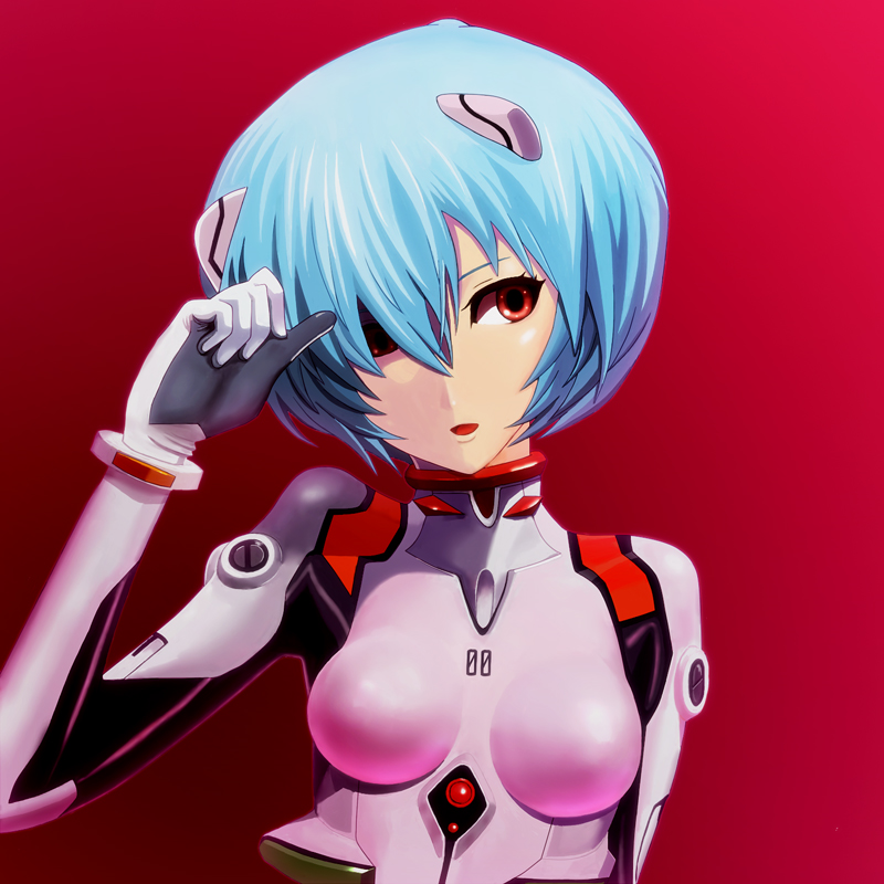 ayanami_rei blue_hair bodysuit neon_genesis_evangelion red_eyes short_hair solo takahirokun