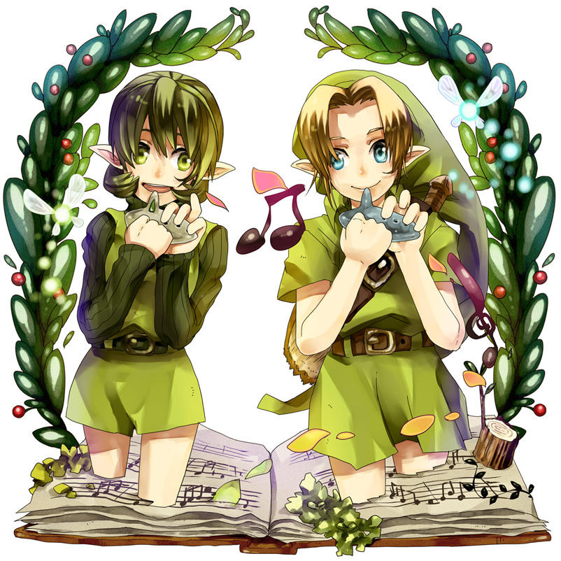 blue_eyes book fairy fuu_takara green_eyes green_hair hat houhou_(black_lack) instrument link navi nintendo ocarina ocarina_of_time pointy_ears saria smile the_legend_of_zelda