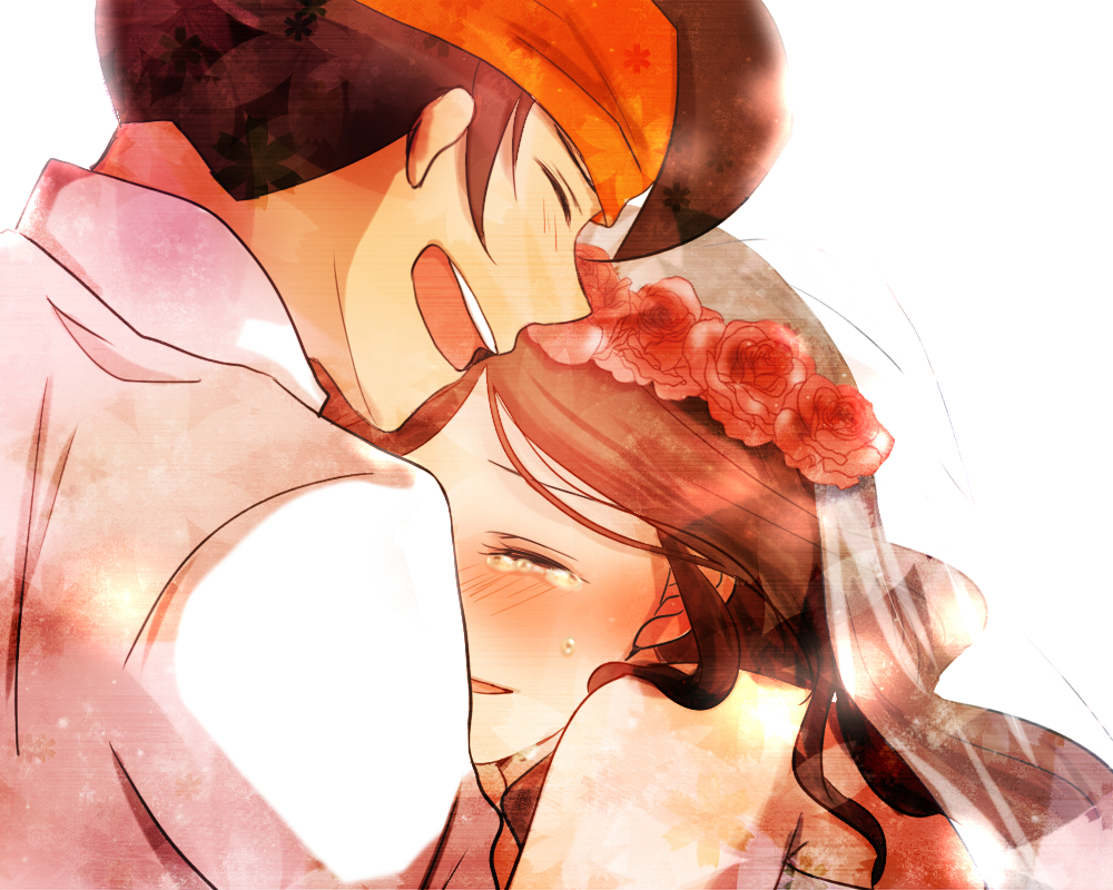 bridal_veil bride brown_hair closed_eyes endou_mamoru eyes_closed hug inazuma_eleven inazuma_eleven_(series) inazuma_eleven_go long_hair raimon_natsumi ren_(palette) tears veil