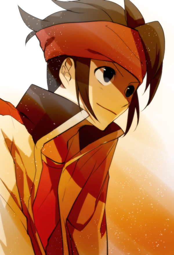 bad_id brown_eyes brown_hair endou_mamoru headband inazuma_eleven inazuma_eleven_(series) inazuma_eleven_go jacket kai28 male short_hair smile solo