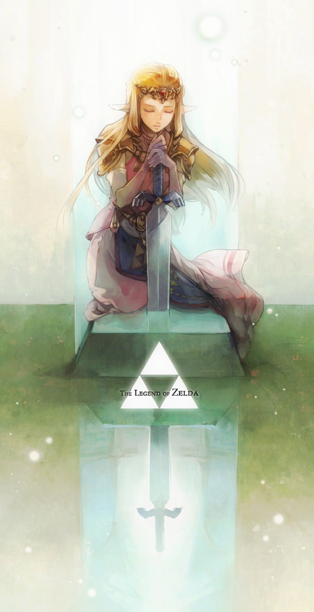 closed_eyes different_reflection elf eyes_closed gloves hylian jewelry long_hair master_sword nintendo ocarina_of_time pedestal pointy_ears princess princess_zelda reflection royal royalty s1minami shoulder_pads solo sword the_legend_of_zelda tiara triforce weapon