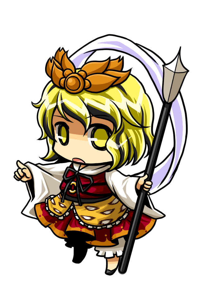 chibi hair_ornament pointing polearm shawl simple_background socha solo spear toramaru_shou touhou transparent_background weapon yellow_eyes