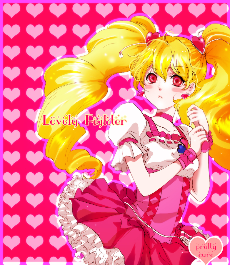 blonde_hair choker cure_peach dress earrings fresh_precure! frills hair_ornament hairpin heart jewelry long_hair magical_girl momozono_love precure red_eyes sahokinari serious solo twintails wrist_cuffs