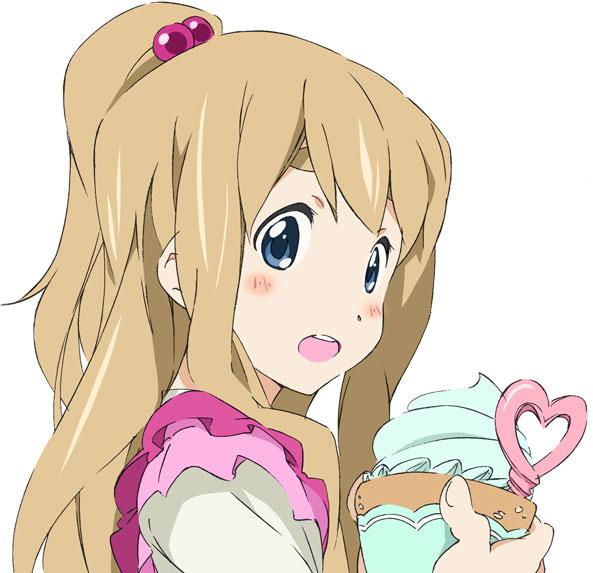 apron blonde_hair blue_eyes cosplay cupcake k-on! kotobuki_tsumugi long_hair minamino_aoi minamino_aoi_(cosplay) ponytail precure suite_precure umanosuke