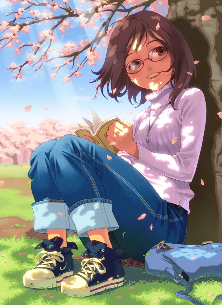 brown_eyes brown_hair cherry_blossoms face glasses jeans no_socks original pairan shoes sitting smile sneakers solo sweater tree turtleneck