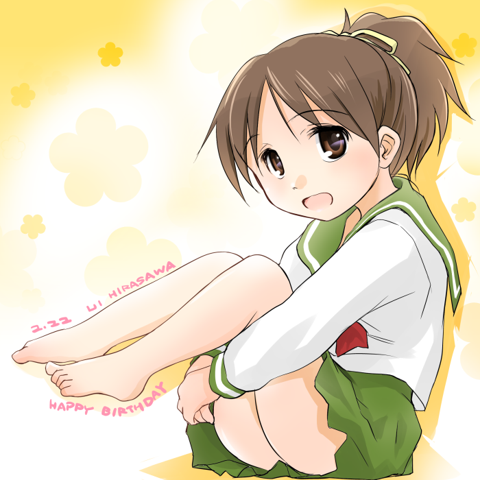birthday brown_eyes brown_hair feet hair_ribbon hirasawa_ui k-on! leg_hug legs_up ponytail ribbon school_uniform skirt solo wancho
