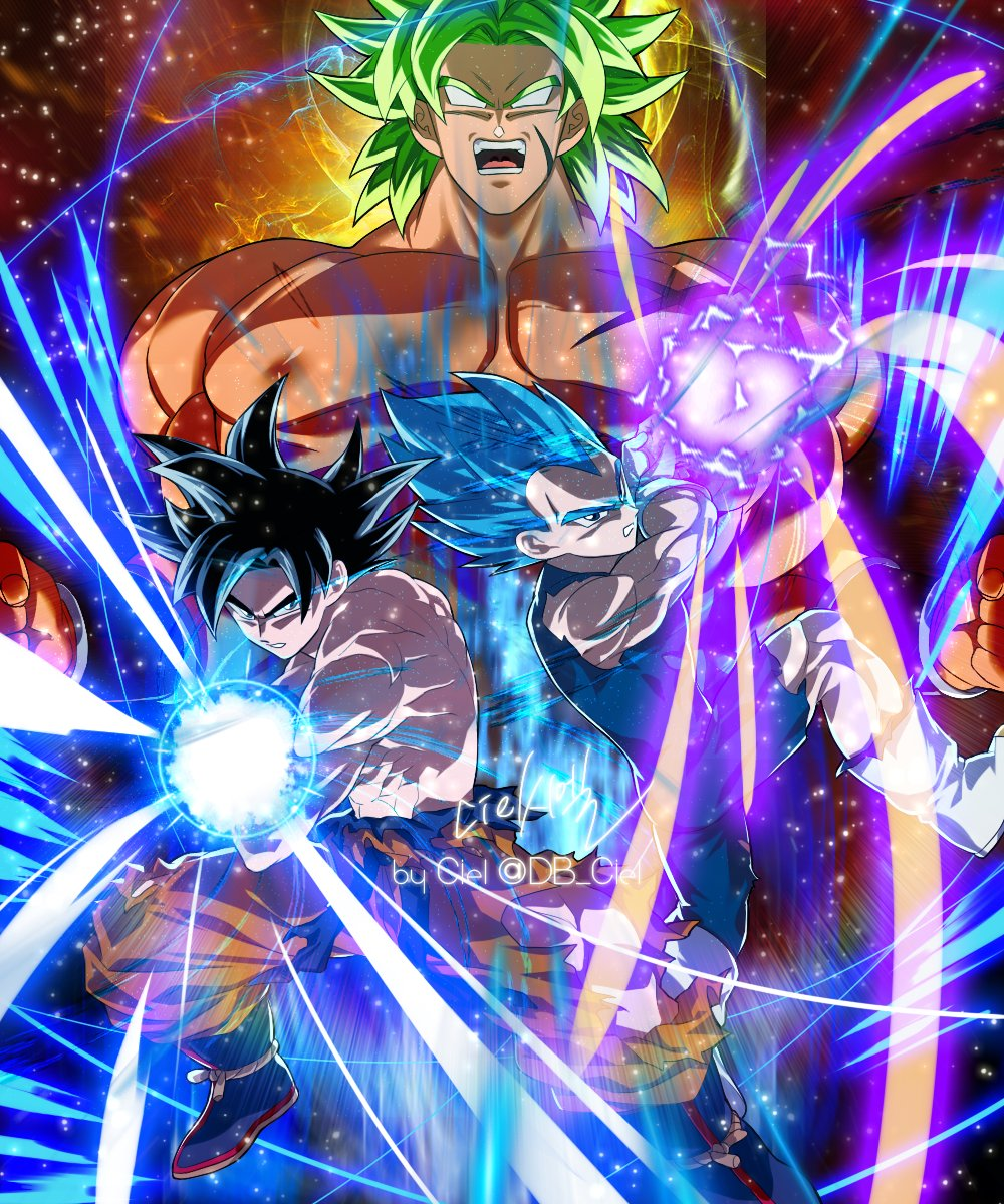 3boys black_eyes black_hair blue_hair broly_(dragon_ball_super) dragon_ball dragon_ball_super dragon_ball_super_broly fighting_stance full_body green_hair highres kamehameha large_pectorals male_focus multiple_boys muscular muscular_male nipples no_pupils scar scar_on_chest shirtless short_hair skin_tight son_goku spiky_hair super_saiyan super_saiyan_blue super_saiyan_full_power tarutobi torn_clothes ultra_instinct vegeta
