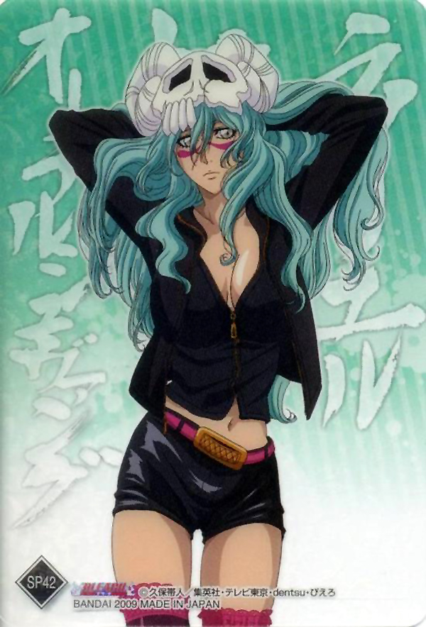 arrancar artist_request bleach breasts casual cleavage espada facial_mark green_hair grey_eyes hollow long_hair midriff neliel_tu_oderschvank nelliel_tu_odelschwanck scan scan_artifact scan_artifacts skull