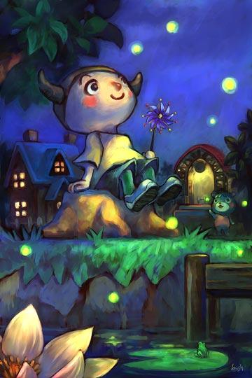 1boy 1girl bear doubutsu_no_mori doubutsu_no_mori_(game) doubutsu_no_mori_e+ frog gurumin_(doubutsu_no_mori) kid lily_pad lowres night nintendo nintendo_ead sawako_m tagme villager_(doubutsu_no_mori) water