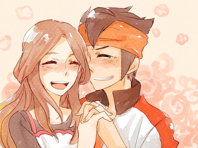 1girl couple endou_mamoru endou_natsumi happy happy_tears inazuma_eleven inazuma_eleven_(series) inazuma_eleven_go raimon_natsumi tears tears_of_joy