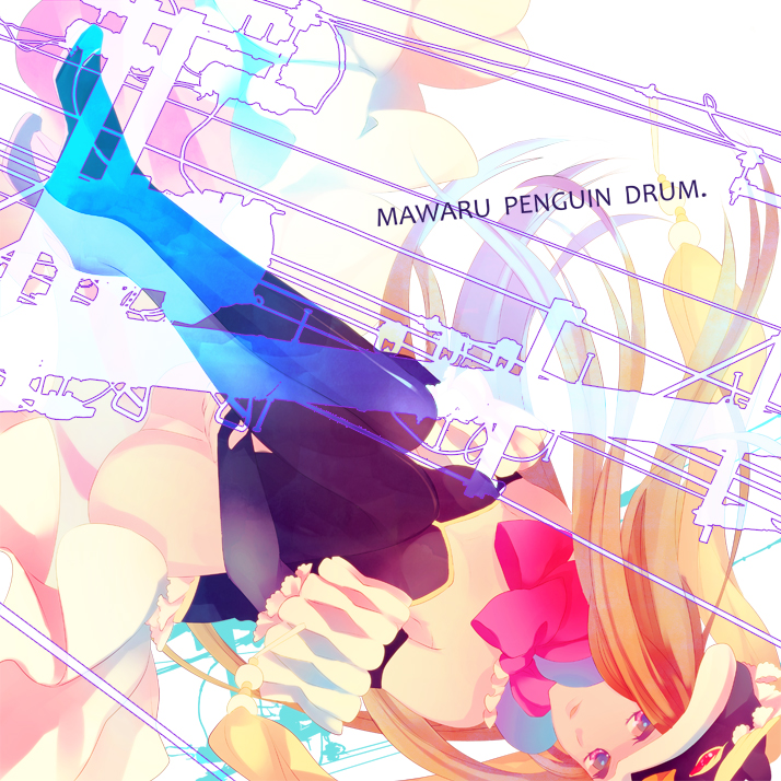 bare_shoulders blonde_hair boots brown_hair dutch_angle hat macco mawaru_penguindrum pink_eyes princess_of_the_crystal solo takakura_himari telephone_pole thigh-highs thigh_boots thighhighs title_drop upside-down