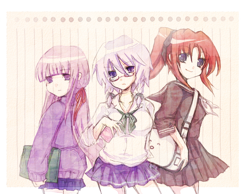alternate_hairstyle bespectacled blue_eyes braid contemporary glasses hong_meiling izayoi_sakuya long_hair patchouli_knowledge ponytail purple_eyes purple_hair red_hair redhead sanotsuki school_uniform short_hair silver_hair sweater touhou twin_braids violet_eyes