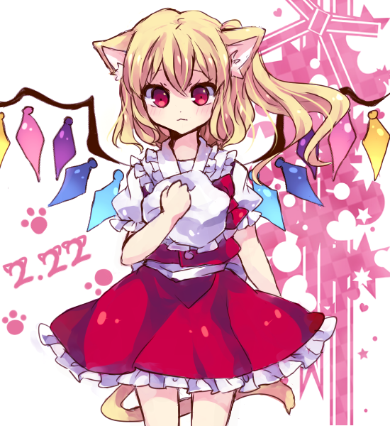 bad_id blonde_hair flandre_scarlet hat ponytail red_eyes short_hair side_ponytail siruki solo tail touhou wings