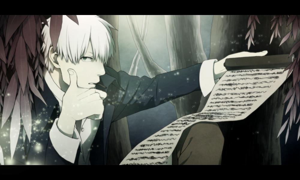 cigarette ginko komo_(sleepy) letterboxed male mushishi scroll short_hair solo tree white_hair