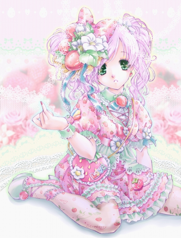 dress flower food food_themed_clothes fruit green_eyes hair_flower hair_ornament hair_ribbon kasumi_miruchi kneeling long_hair mary_janes original pantyhose pink pink_hair pink_legwear ribbon shoes sitting solo strawberry twintails wariza