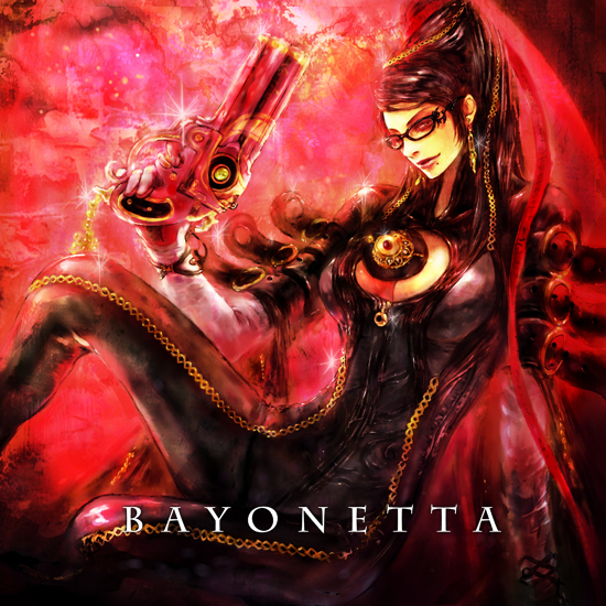 bayonetta_(character) black_hair bodysuit breasts cleavage cleavage_cutout glasses gloves gun handgun long_hair mole tsuya_iruka weapon
