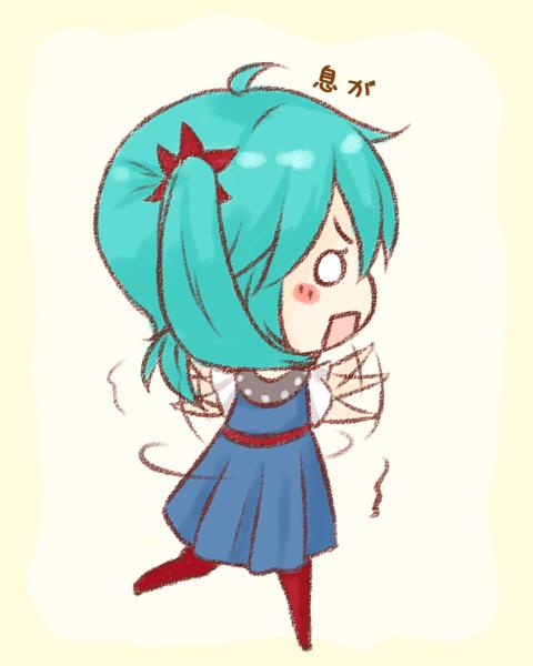 aqua_hair blush dress hatsune_miku karakuri_pierrot_(vocaloid) omu_(omu929) pantyhose simple_background solo spinning twintails vocaloid