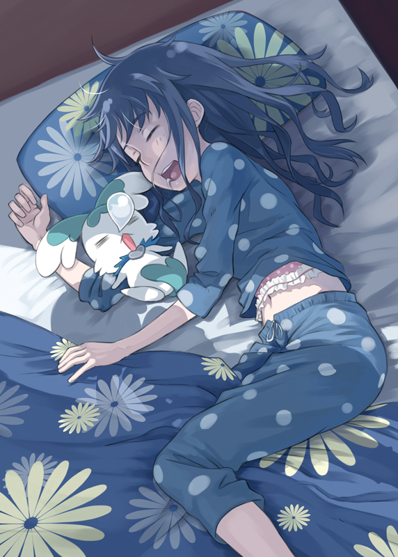 =_= bed blanket blue_hair closed_eyes coffret_(heartcatch_precure!) disheveled drooling eyes_closed floral_print futon heartcatch_precure! kurumi_erika long_hair lying messy_hair midriff mofu navel nose_bubble on_side open_mouth pajamas pillow polka_dot precure shadow sleeping smile solo