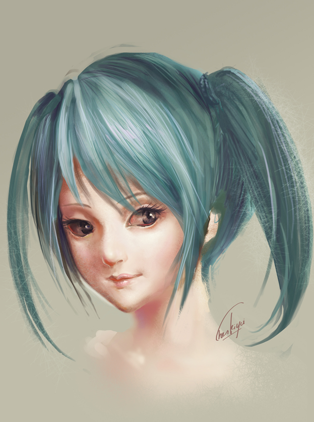brown_eyes chenkiyui eyelashes face hatsune_miku light_smile lips portrait realistic signature simple_background smile twintails vocaloid