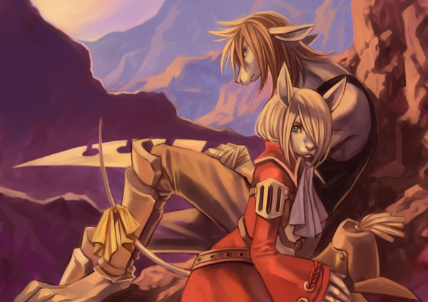 1girl armor armored_dress brown_hair burmecian couple female final_fantasy final_fantasy_ix fratley freija_crescent freya_crescent furry green_eyes hat hat_removed headwear_removed kareji male rat rat_ears rodent snout tail unknown_artist video_games weapon white_hair