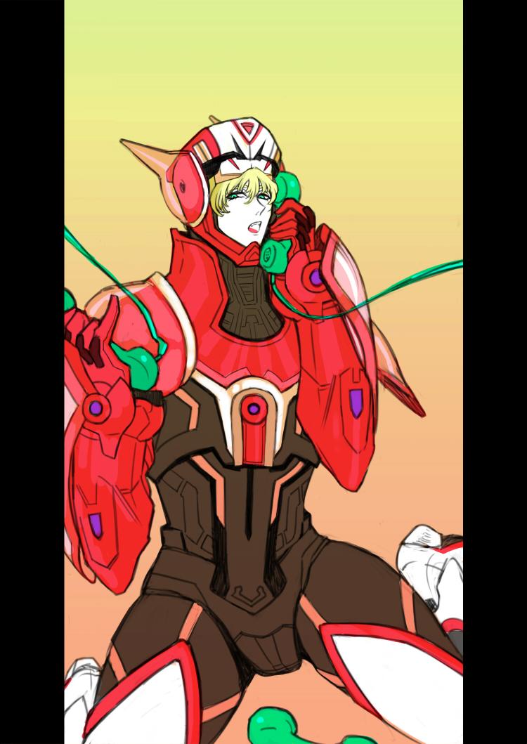 barnaby_brooks_jr blonde_hair green_eyes lady_gaga male mikumikudance phone pillarboxed pinky_out power_armor power_suit solo superhero telephone_(lady_gaga) tiger_&_bunny yuzupon_(asakawa)