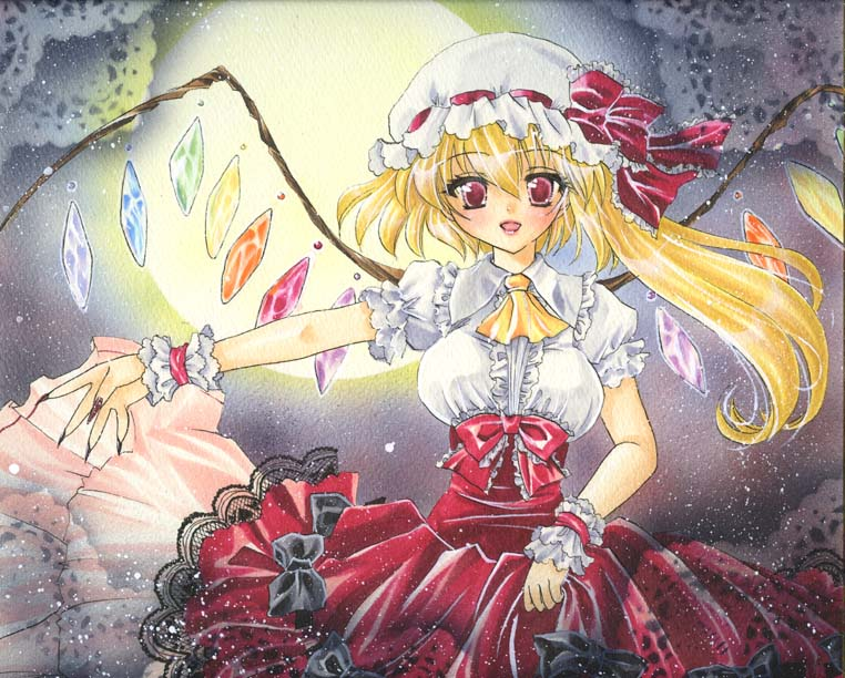 adult alternate_costume ascot blonde_hair bow claws clothes_grab fingernails flandre_scarlet frills full_moon gown hat hat_bow hat_ribbon lace long_fingernails long_hair marker_(medium) millipen_(medium) mitsuba_(threeleaf) moon moonlight nail_polish outstretched_arm pastel_(medium) red_eyes ribbon short_hair short_sleeves side_ponytail solo teenage the_embodiment_of_scarlet_devil touhou traditional_media wings wrist_cuffs