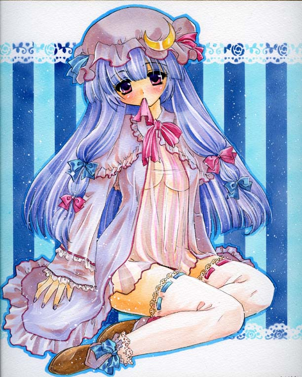 bangs blunt_bangs blush bow cloak doily hat long_hair looking_at_viewer marker_(medium) millipen_(medium) mitsuba_(threeleaf) mouth_hold nail_polish patchouli_knowledge purple_hair sitting solo striped striped_background thigh-highs thighhighs touhou traditional_media