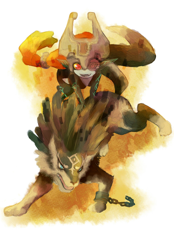 helmet imp kutta link link_(wolf) midna nintendo pointy_ears red_eyes smile the_legend_of_zelda twilight_princess wolf