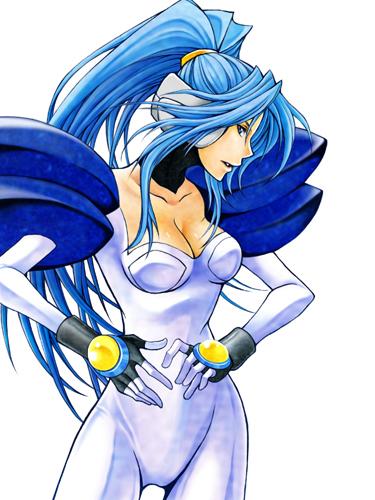 blue_eyes blue_hair bodysuit breasts chris_ryan gloves kei_(pixiv829811) long_hair lowres pauldron ponytail profile psychic_force solo