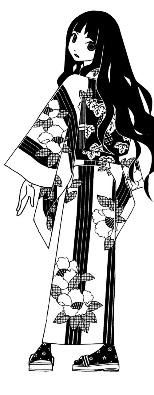 footwear highres itoshiki_rin japanese_clothes kumeta_kouji long_hair looking_back monochrome official_art sandals sayonara_zetsubou_sensei simple_background socks wavy_hair