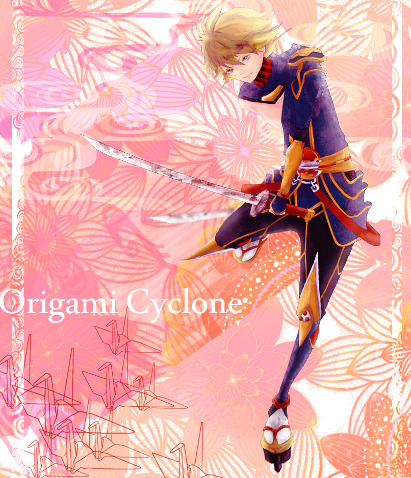 blonde_hair fffoyatu geta ivan_karelin katana male origami origami_cyclone paper_crane purple_eyes short_hair solo superhero sword tabi tiger_&_bunny violet_eyes weapon