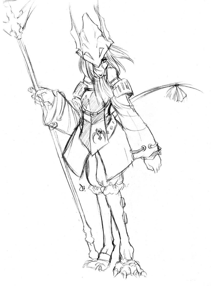 abluedeer armor burmecian claws female final_fantasy final_fantasy_ix freija_crescent freya_crescent hat monochrome polearm rat rat_tail rodent sketch solo spear toeless_legwear video_games weapon