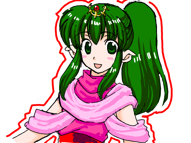 74 blush_stickers chiki fire_emblem fire_emblem_mystery_of_the_emblem flat_chest green_eyes green_hair jewelry long_hair open_mouth pointy_ears ponytail