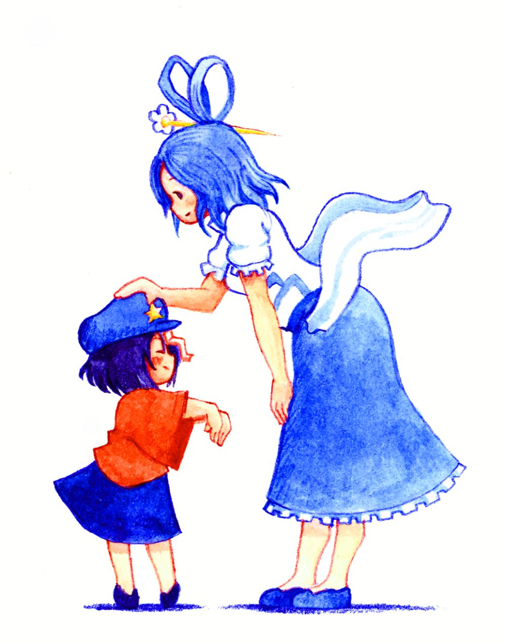 acrylic_paint_(medium) blue_hair child closed_eyes colored_pencil_(medium) dress eyes_closed hair_ornament hair_rings hair_stick hand_on_knee hat highres kaku_seiga leaning_forward miyako_yoshika multiple_girls ofuda outstretched_arms petting shawl shoes short_hair simple_background skirt smile star terajin touhou traditional_media white_background young zombie_pose