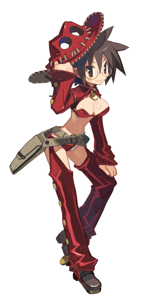 bag belt bolero breasts brown_hair cleavage cowboy_hat cowgirl cropped_jacket disgaea glasses gunslinger_(disgaea) harada_takehito hat holding holding_hat large_breasts makai_senki_disgaea_3 official_art red_eyes red_legwear shoes short_hair smile solo spiked_hair spiky_hair thigh-highs thighhighs