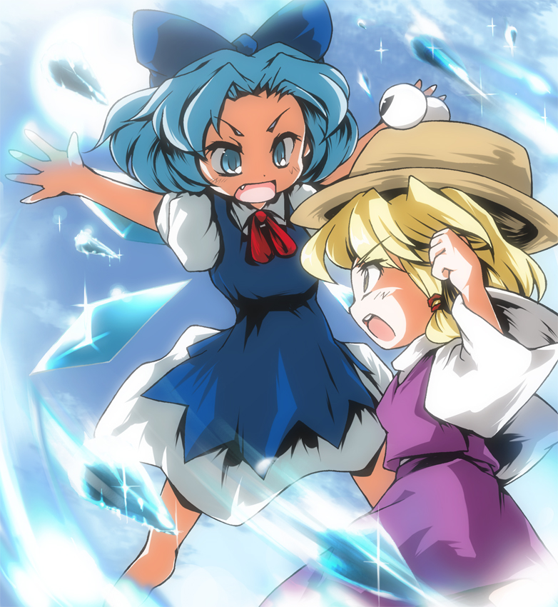 blonde_hair blue_eyes blue_hair bow brown_eyes cirno dress fang hair_bow hat ice icicle moriya_suwako multiple_girls open_mouth rivalry sun suzu_(suzuko) touhou wings