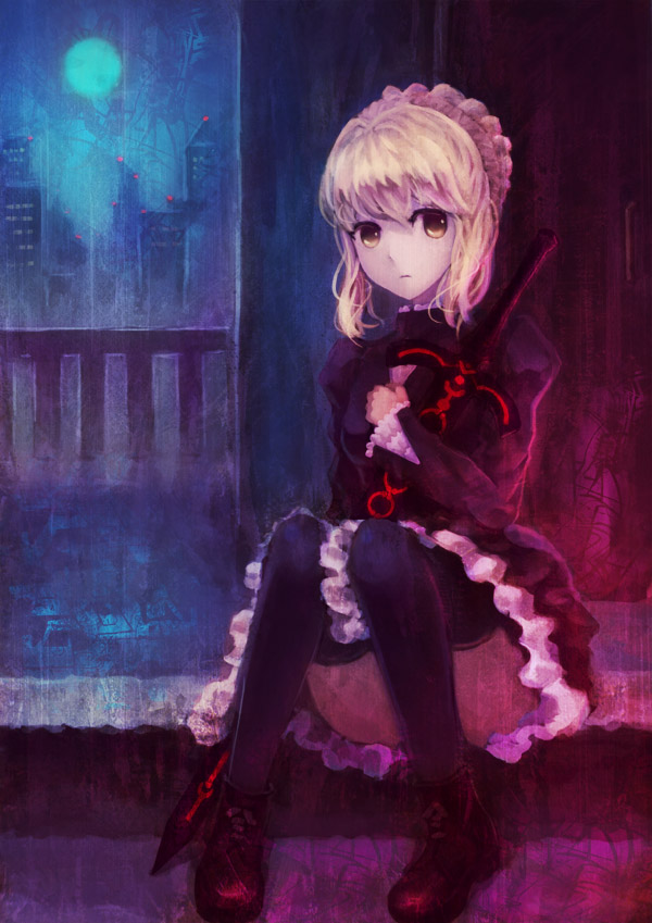 blonde_hair dark_excalibur dress fate/hollow_ataraxia fate/stay_night fate/unlimited_codes fate_(series) full_moon gothic_lolita lolita_fashion moon pantyhose qin saber saber_alter solo thigh-highs thighhighs yellow_eyes