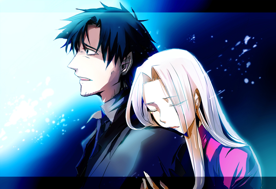 1girl aonome black_hair blue_eyes closed_eyes couple emiya_kiritsugu eyes_closed fate/stay_night fate/zero fate_(series) hug hug_from_behind husband_and_wife irisviel_von_einzbern long_hair necktie