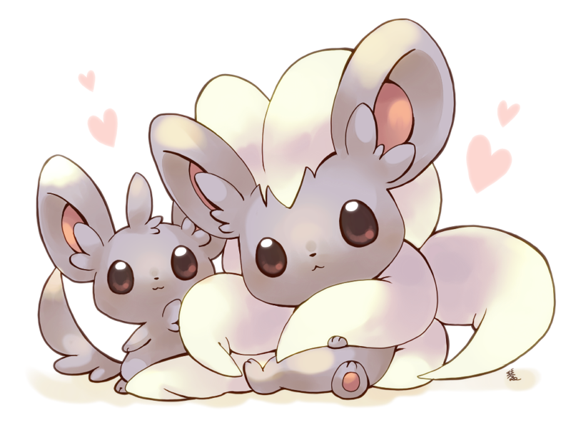 :3 big_ears brown_eyes chest_tuft chinchilla cinccino fluffy hair hair_tuft heart hindpaw kotorai long_hair long_tail looking_at_viewer minccino no_humans pawpads paws plain_background pokemon rodent sitting tail white_background