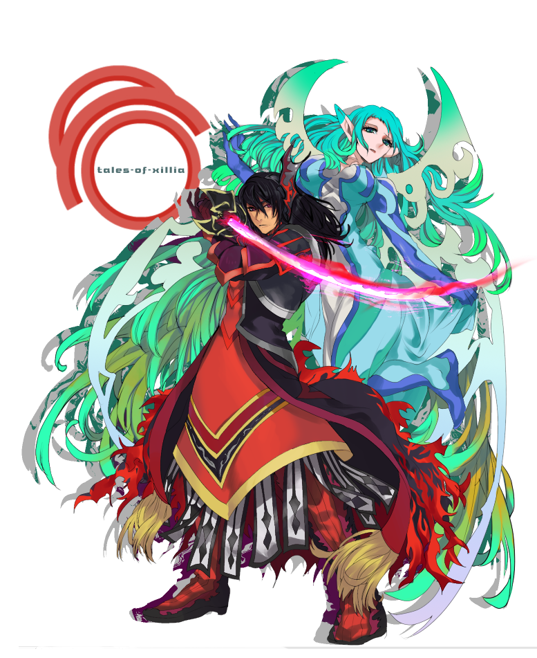 1girl aqua_hair armor black_hair boots gaias gradient_hair green_eyes green_hair hair_ornament hairpin long_hair multicolored_hair muse_(tales_of_xillia) pointy_ears red_eyes spoilers surcoat sword tales_of_(series) tales_of_xillia title_drop very_long_hair weapon wonagi