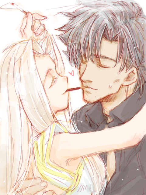 1girl bad_id black_hair cigarette closed_eyes couple dancing emiya_kiritsugu eyes_closed fate/stay_night fate/zero fate_(series) heart husband_and_wife irisviel_von_einzbern long_hair pocky pocky_kiss shared_food short_hair smile white_hair