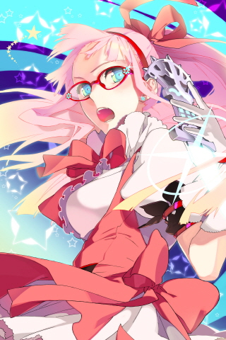 artist_request breasts dress earrings frills glasses gloves hairband jewelry large_breasts long_hair lowres magical_girl maron open_mouth pink_hair ponytail ribbon skirt solo star sword_girls