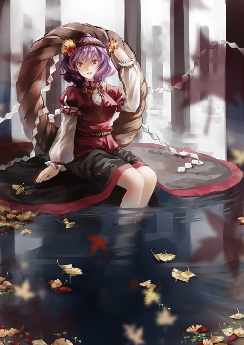 dress feet_in_water leaf purple_hair red_eyes shimenawa short_hair soaking_feet solo touhou vetina water yasaka_kanako